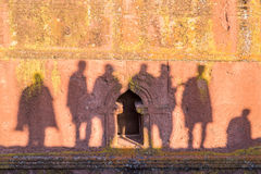 Shadows on the wall of Saint George church in Lalibela Ethiopia Stock Images