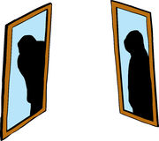 Shadowy figure in mirrors. Shadowy figure in pair of facing mirrors over white background Royalty Free Stock Photos