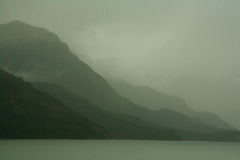 Shadowy gray green ridges on overcast day. Martinez Fjord, Patagonia Royalty Free Stock Photography