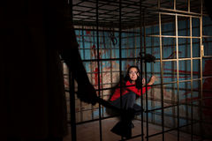 Shadowy male figure holding an ax in front of frightened victim. Imprisoned in a metal cage with a blood splattered wall behind her sitting in terror awaiting a Royalty Free Stock Image