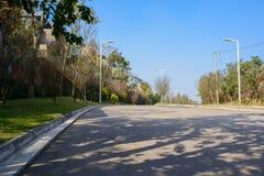 Shady asphalted road at sunny winter noon Stock Photo