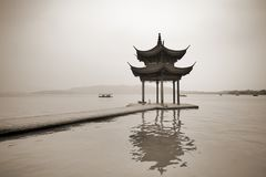 Shady bower on the lake Xihu. Black and white toned photo Stock Images