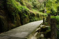Shady flagstone pavement on mountainside in afternoon Royalty Free Stock Photos