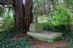 Shady grave stone Stock Photo