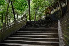 Shady hillside stone steps with balustrade before ancient Chines Stock Photography