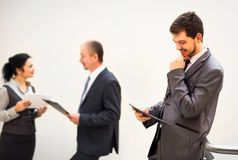 Shady image of a business team discussing Royalty Free Stock Image