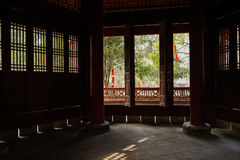 Shady inside of ancient Chinese tower in sunny afternoon Stock Photography