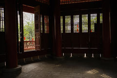 Shady inside of ancient Chinese tower on sunny day Royalty Free Stock Photo