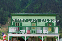 Shady lady Saloon, Silverton, Colorado USA. Old wild West Saloon building in mountain town of Silverton, Colorado with mannequin in the window. The Shady Lady Royalty Free Stock Image