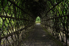 Shady passage in rattan-woven arcade Royalty Free Stock Photo