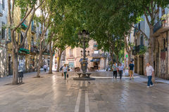Shady places in the Ciutat Vella in Barcelona Royalty Free Stock Image