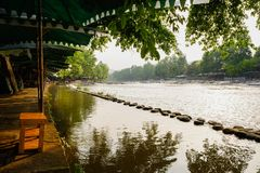 Shady riverside in sunny summer afternoon,China Stock Photo