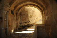 Vittoriosa fortress, Malta. A shady stairwell leading to Vittoriosa fortress, Malta Stock Photos