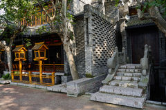 Shady stone stairway of old-fashioned Chinese building in mornin Royalty Free Stock Image
