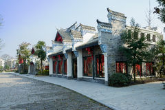 Shady street before Chinese old-fashioned buildings in sunny win Stock Image