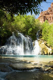 Shady View of Navajo Falls in Havasu Canyon, Arizona Royalty Free Stock Images