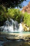 Shady View of Navajo Falls in Havasu Canyon, Arizona. Navajo Falls in Havasu Canyon, Arizona Royalty Free Stock Images