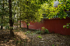Shady woods outside enclosure of aged Chinese buildings in sunny Royalty Free Stock Photography
