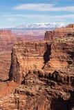 Shafer佳能在峡谷土地国家公园犹他俯视 免版税图库摄影