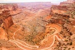 Shafer ślad, Canyonlands park narodowy Zdjęcia Stock
