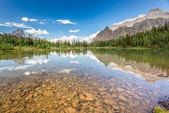 Shaffer Lake, Yoho National Park. Panorama view of a lake in British Columbia Stock Photography
