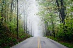 Shaffers Church Road in fog, near Glen Rock, Pennsylvania. Royalty Free Stock Image