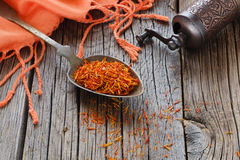 Free Shafran In A Spoon On Wooden Table With Silk Cloth Stock Image - 88996171