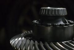 Shaft with roller bearing and hypoid gear stock photography