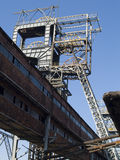 Shaft tower. Old shaft tower in polish mine. Beaudy sunny day, blue sky Royalty Free Stock Photography