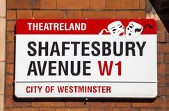 Shaftesbury大道在伦敦 库存照片