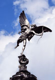 Shaftesbury Memorial Fountain. Statue of Anteros more commonly called the Eros statue on the Shaftesbury Memorial Fountain in Piccadilly Circus. Set against a Royalty Free Stock Image