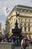 Shaftesbury minnes- springbrunn i Piccadilly cirkusfyrkant Arkivfoto
