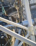 The shafts and poles of london eye, the view from top down to the other buildings. And river thames stock photography
