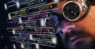 Shag beard and mustache man study cyber security. Shag beard and mustache man with goggles study cyber security related issues