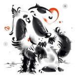 Shaggy собака и красные сердца Стоковое Фото