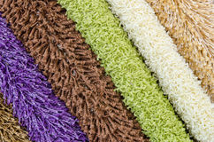 Shaggy carpet samples Stock Photos