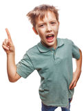 Shaggy kid blond boy raised thumbs is good idea to Royalty Free Stock Photography