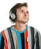 Shaggy men in headphones Royalty Free Stock Images