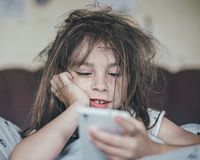 Ruffled girl in the morning. Royalty Free Stock Photography