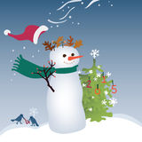 Shaggy Snowman. Royalty Free Stock Images
