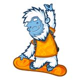 Yeti cool snowboarder Royalty Free Stock Image