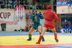 Shagin Vadim (bleu) contre Nurlikov Mekan image stock