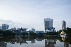 Shah Alam cityscape view in the morning with reflection in the lake royalty free stock image