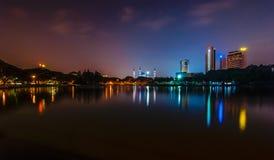 Shah Alam Lake at night. This beautiful scenery taken at shah alam lake during night with reflection Royalty Free Stock Images