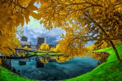 Shah Alam Lakeside, Malaysia. Infrared world of photography Stock Photos