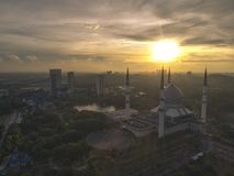 Aerial Video of Federal Territory Mosque. SHAH ALAM, MALAYSIA - 30 APRIL 2017 - A sunrise at Blue Mosque, Shah Alam, Malaysia. Blue Mosque or The Sultan Stock Photography