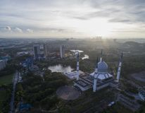 Aerial Video of Sultan Salahuddin Abdul Aziz Shah Mosque. SHAH ALAM, MALAYSIA - 8 JANUARY 2018 - An aerial photo of Blue Mosque, Shah Alam, Malaysia. Blue Mosque Royalty Free Stock Images