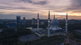 Aerial Video of Sultan Salahuddin Abdul Aziz Shah Mosque. SHAH ALAM, MALAYSIA - 8 JANUARY 2018 - An aerial photo of Blue Mosque, Shah Alam, Malaysia. Blue Mosque Stock Images