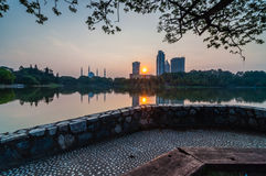 Shah Alam Mosque reflection. View from shah alam lake with reflection Royalty Free Stock Photo