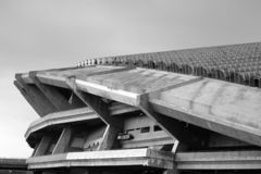 Shah Alam Stadium architecture in black and white royalty free stock image